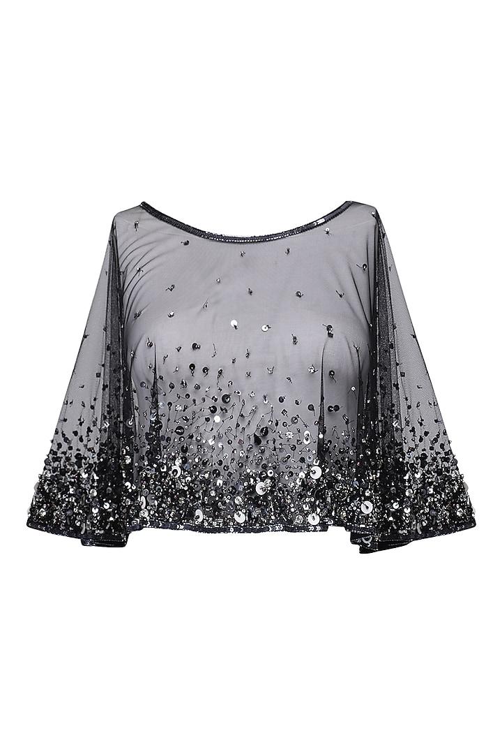 Black sprinkle Embroidered cape by Kanika J Singh