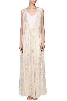 White Jacquard Romper Dress by Kanika J Singh
