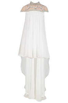 White Crystal Embroidered High Low Dress by Kanika J Singh