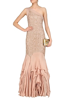 Golden Lace Work One Shoulder Frilled Gown by Kanika J Singh