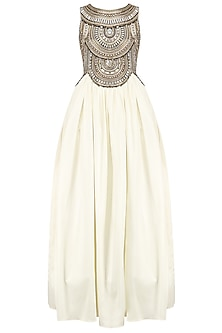 White Stones and Beads Embroidered Ball Gown by Kanika J Singh