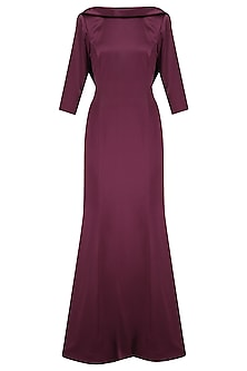 Maroon Cowl Neck Gown by Kanika J Singh