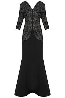 Black Mermaid Cut Embossed Gown by Kanika J Singh