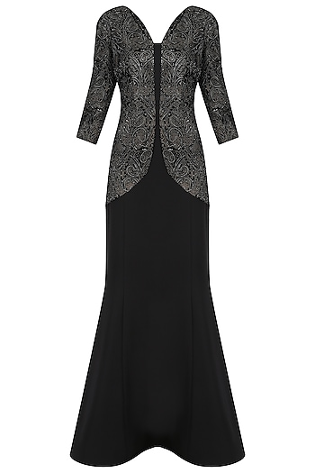 Black Mermaid Cut Embossed Gown by Kanika J Singh