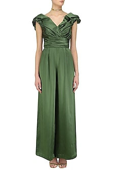 Olive Green Ruched Pleated Dramatic Jumpsuit by Kanika J Singh
