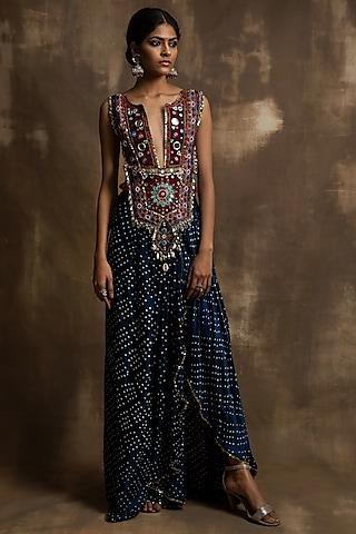 Indigo Blue Hand Embroidered Draped Dhoti Skirt Set by Karishma Khanduja Bareilley