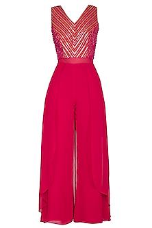 Hot Pink Embellished Jumpsuit by Kakandora