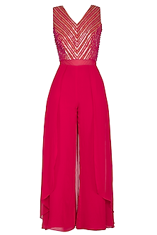 Hot Pink Embellished Jumpsuit by Kakandora