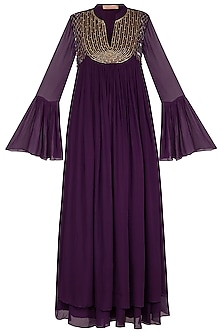 Dark Violet Embroidered Gown by Kakandora