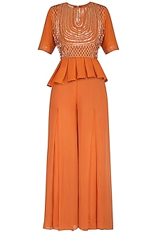 Rust Orange Embroidered Peplum Top With Flared Palazzo Pants by Kakandora