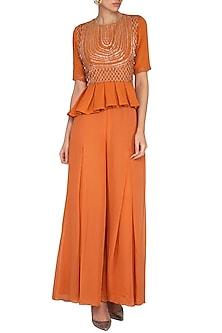 Rust Orange Embroidered Peplum Top With Flared Palazzo Pants by Kakandora