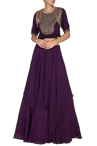 Violet Embroidered Blouse With Flared Skirt by Kakandora