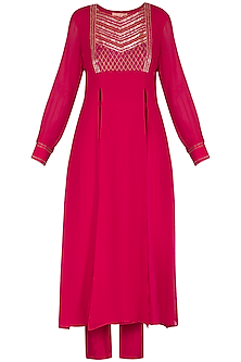 Hot Pink Embroidered Kurta With High Waisted Cigarette Pants by Kakandora