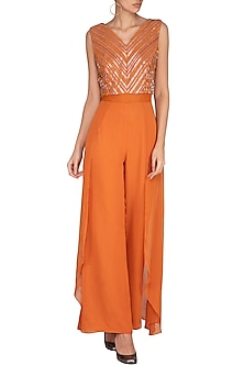 Rust Orange Embellished Jumpsuit by Kakandora