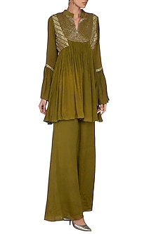 Olive Green Embellished Short Kurta With Flared Palazzo Pants by Kakandora