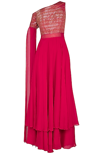 Hot Pink Embroidered One Shoulder Gown by Kakandora