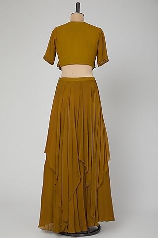 Olive Green Embroidered Flared Skirt Set by Kakandora