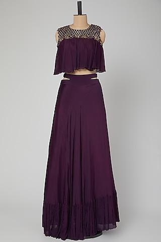 Violet Embroidered Skirt Set With Belt by Kakandora