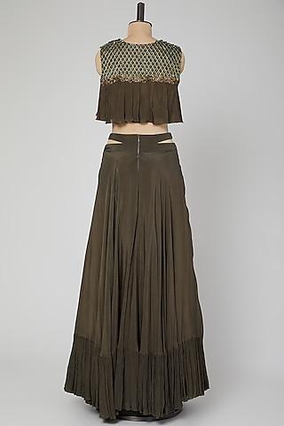 Grey Embroidered Skirt Set With Belt by Kakandora