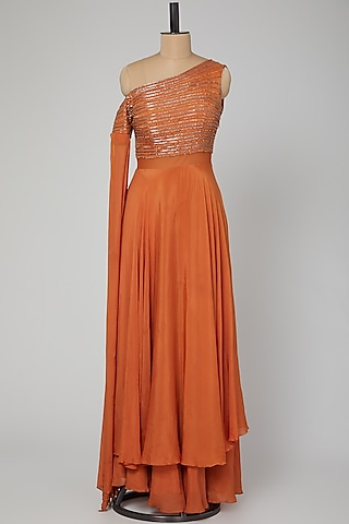 Rust Orange Embroidered & Layered Gown by Kakandora