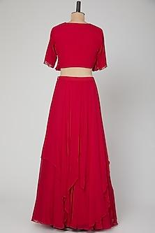 Hot Pink Embroidered Skirt Set by Kakandora