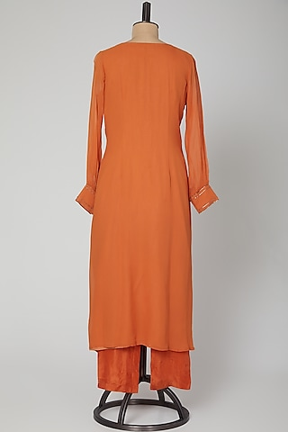 Rust Orange Embroidered Kurta With Cigarette Pants by Kakandora