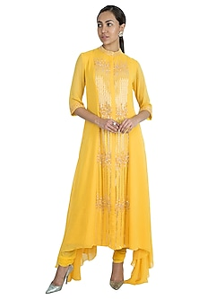 Mango Yellow Embroidered Kurta With Churidar Pants by Kakandora