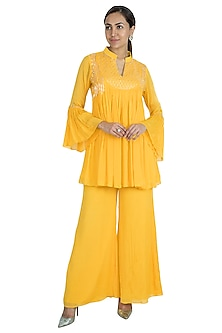 Mango Yellow Embroidered Tunic With Palazzo Pants by Kakandora