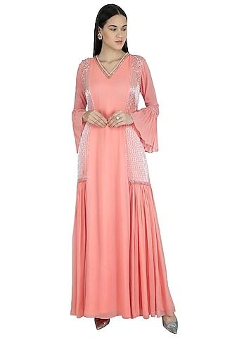 Blush Pink Embroidered Dress by Kakandora