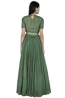 Forest Green Embroidered Anarkali Set by Kakandora