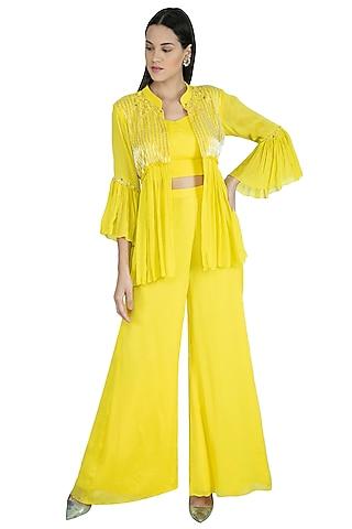Mango Yellow Embroidered Bustier With Jacket & Palazzo Pants by Kakandora