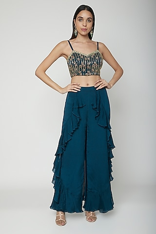 Teal Blue Hand Embroidered Crop Top With Palazzo Pants by Kakandora