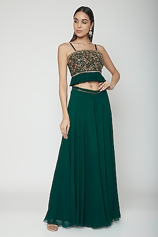 Emerald Green Hand Embroidered Top With Palazzo Pants by Kakandora