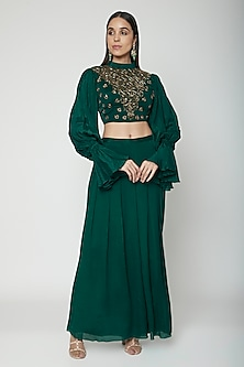 Emerald Green Embroidered Blouse With Inverted Palazzo Pants by Kakandora