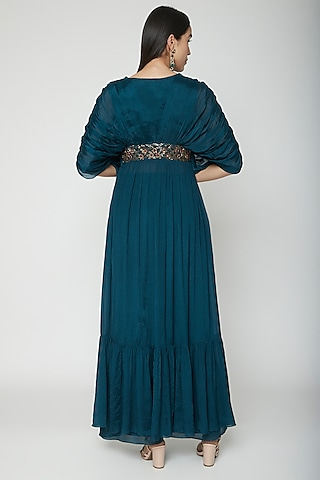 Teal Blue Embroidered Pleated Dress With Palazzo Pants by Kakandora