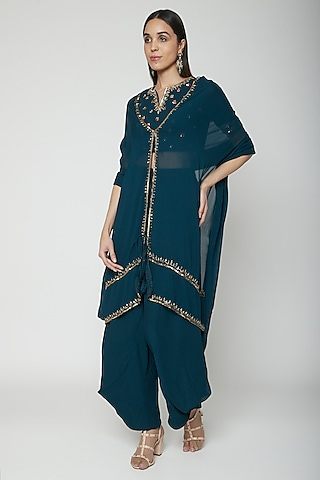 Teal Blue Embroidered Blouse With Cape & Dhoti by Kakandora