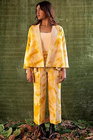 Yellow & Ivory Tie-Dye Pants by Kritika Murarka