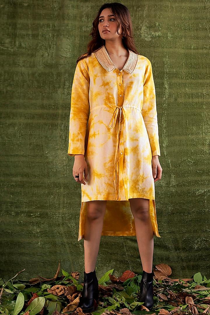 Yellow & Ivory Tie-Dye Shirt Dress by Kritika Murarka