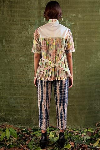 White Thread Embroidered Shirt by Kritika Murarka