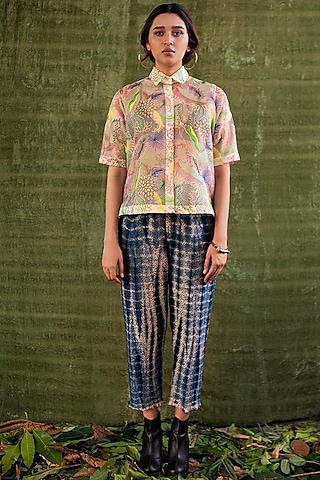 Navy Blue, Black & Ivory Tie-Dye Trousers by Kritika Murarka