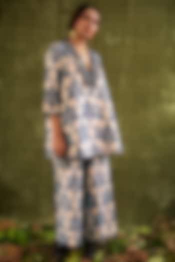 Indigo Blue Hand Printed Jacket by Kritika Murarka