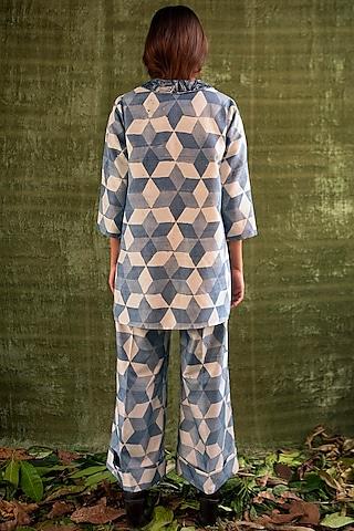 Indigo Blue Hand Printed Pants by Kritika Murarka