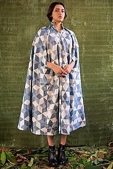 Indigo Blue Hand Printed Cape Dress by Kritika Murarka-KRITIKA MURARKA