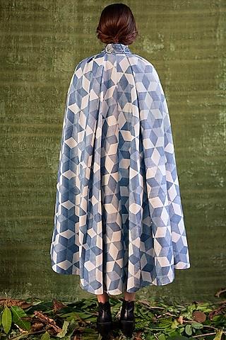 Indigo Blue Hand Printed Cape Dress by Kritika Murarka