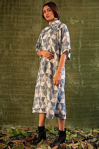 Indigo Blue Geometric Printed Dress by Kritika Murarka