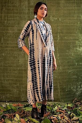 Navy Blue, Ivory & Black Tie-Dye Overcoat by Kritika Murarka