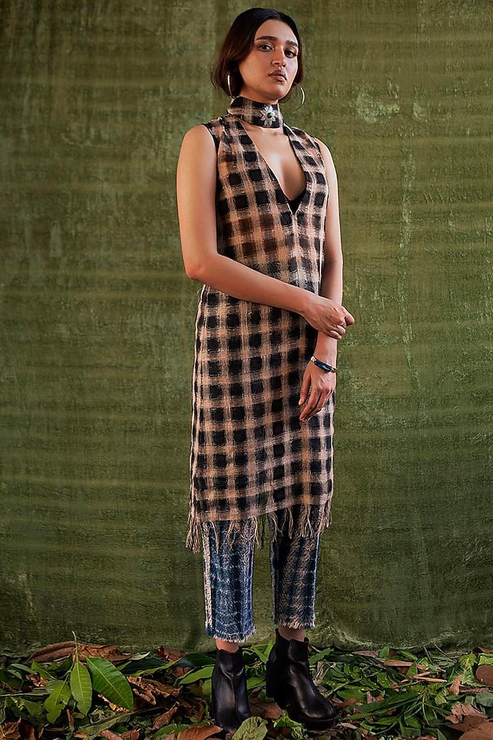 Black & Beige Checkered Tunic Dress by Kritika Murarka