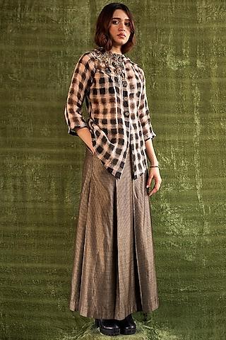 Beige & Black Pleated Skirt by Kritika Murarka