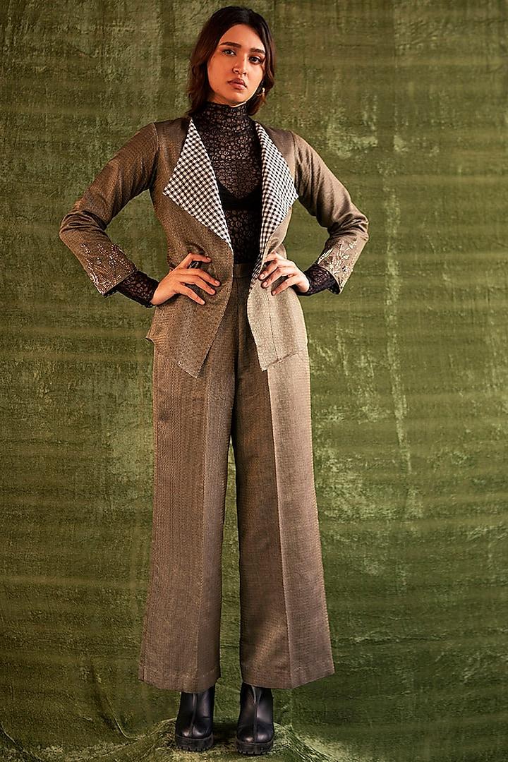 Beige & Black Pleated Trousers by Kritika Murarka