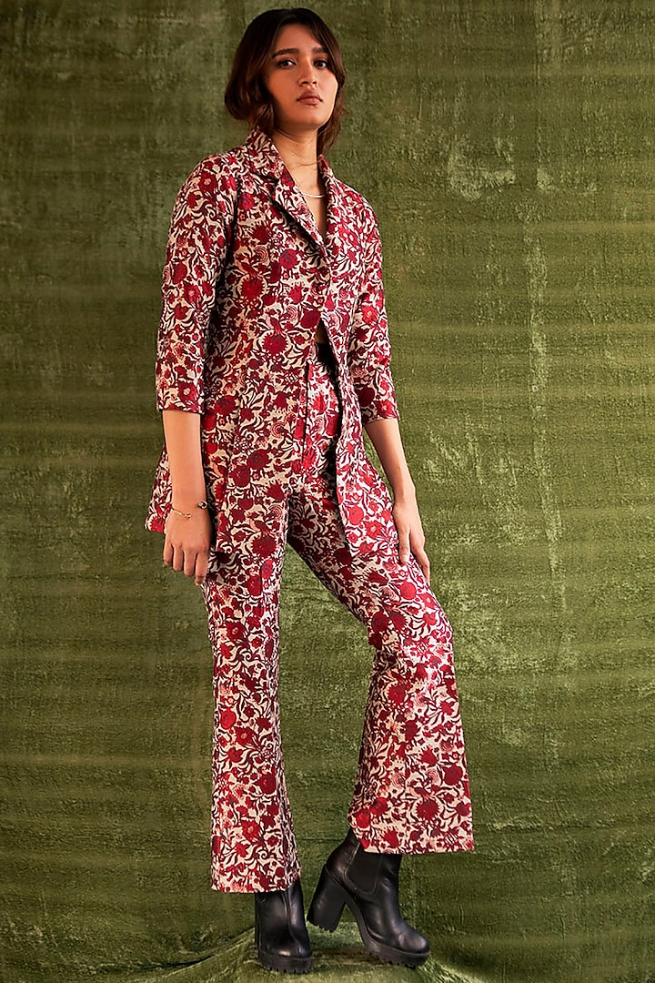 Red Floral Pants by Kritika Murarka